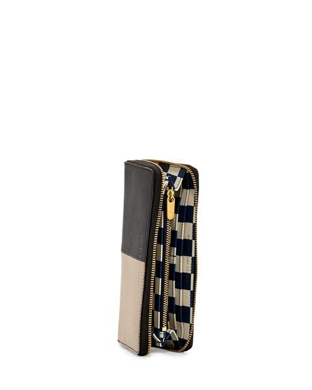 Sophisticato Halfsies Zip Wallet, Black Multi