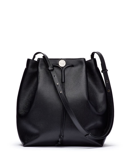 Bucket 10 Grained Calfskin Bag, Black