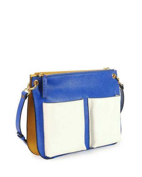Bandoleer Tricolor Messenger Bag, Blue Multi