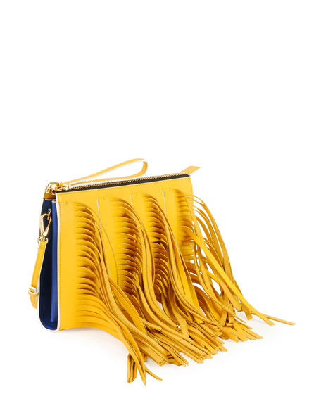 Fringe Zip Clutch Bag with Strap, Yellow/Blue