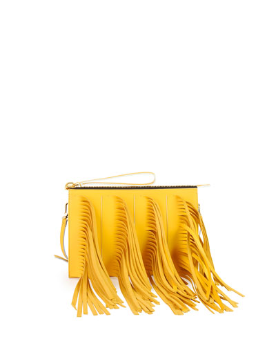 Marni Fringe Zip Clutch Bag with Strap, Yellow/Blue