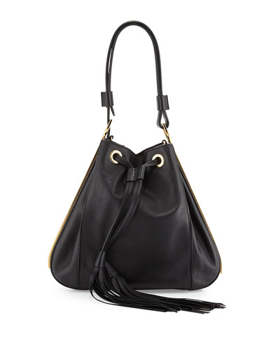 Small Drawstring Bucket Bag, Black