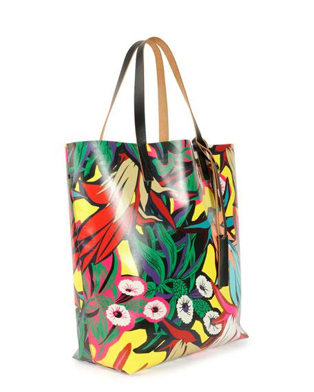 Floral-Print PVC Shopping Bag, Multi