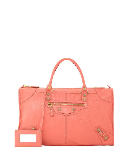 Balenciaga Giant 12 Golden Work Bag, Rose Azalee