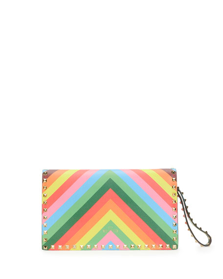 1973 Rockstud Flap Wristlet Clutch Bag