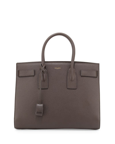 Sac de Jour Grained Leather Carryall Bag, Earth Gray