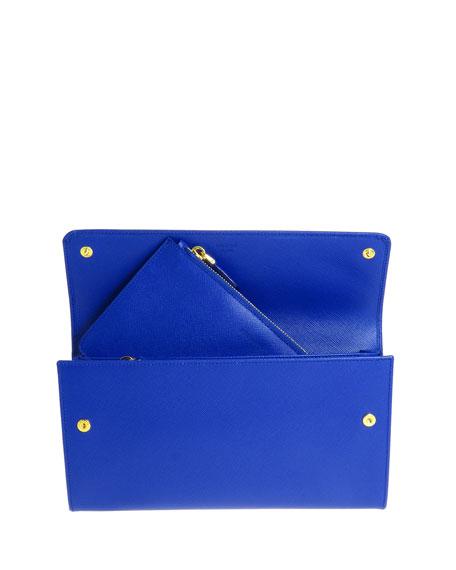 Prada Extra-Large Saffiano Travel Wallet, Blue (Royal)
