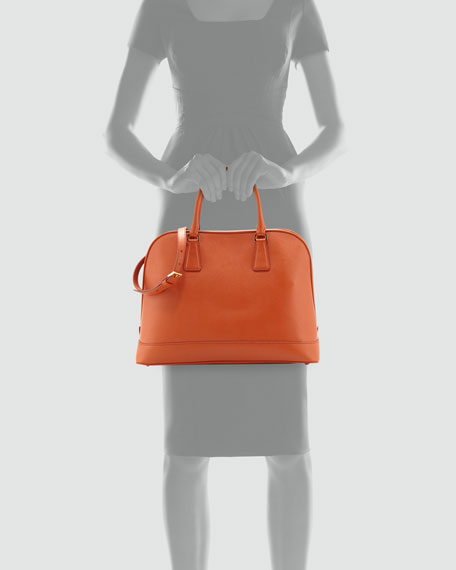 Prada Saffiano Open Promenade Tote, Orange (Papaya)