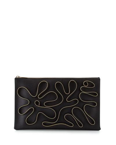 Cavendish Faux-Napa Zipper Clutch Bag, Black
