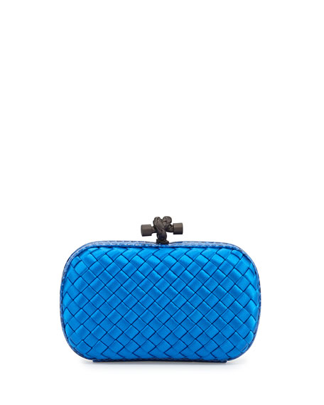 Woven Satin Knot Minaudiere, Royal Blue