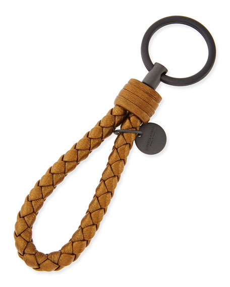 Bottega Veneta Braided Loop Key Ring, New Bronze