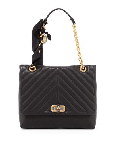 Happy Medium Quilt-Flap Shoulder Bag, Black
