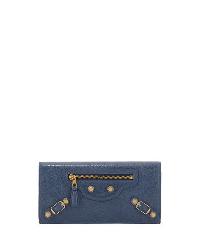 Giant 12 Golden Money Wallet, Bleu Persan