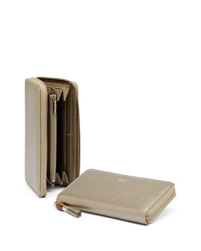 Tassel Zip Around Wallet, Golden Beige