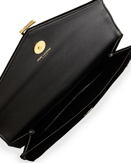 Monogram Small Velvet Clutch Bag, Black