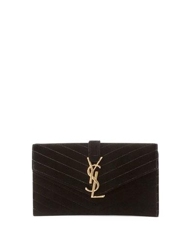 Monogramme Small Velvet Clutch Bag, Black