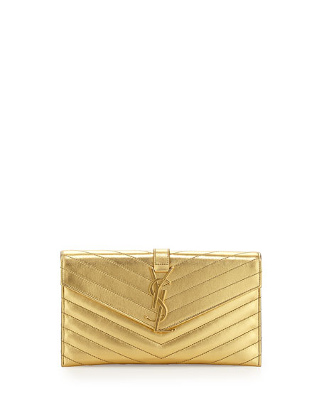 Monogramme Envelope Clutch Bag, Germilon Golden
