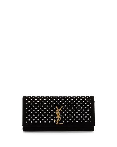 Velvet Clutch Bag with Crystal Studs, Nero Black