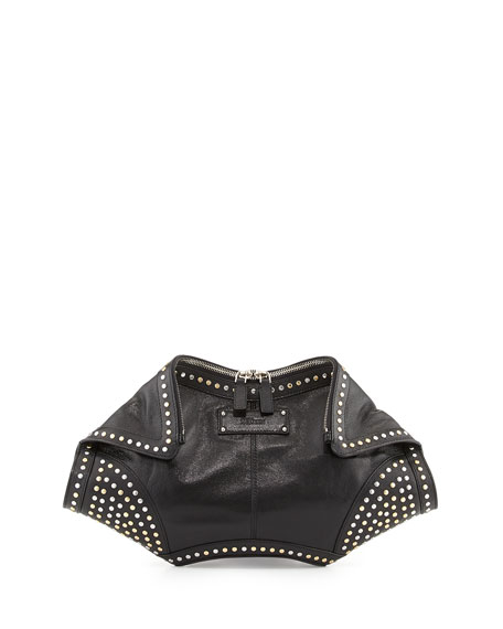 De-Manta Studded Clutch Bag, Black