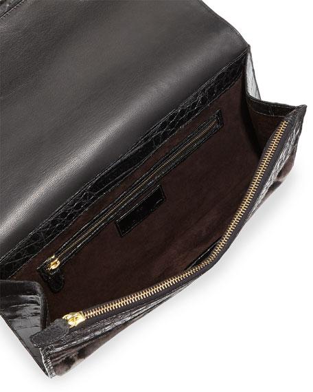 Leopard-Print Calf Hair Bar Clutch Bag, Gray