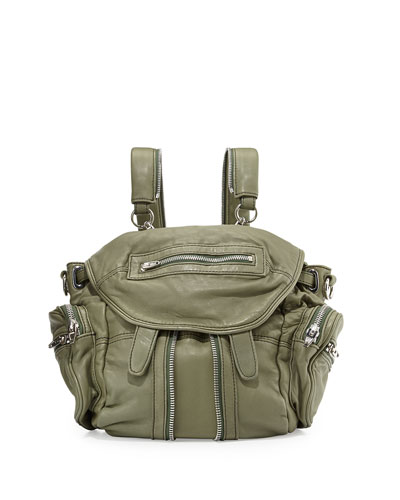 Alexander Wang Mini Marti Washed Leather Backpack Sage<br />