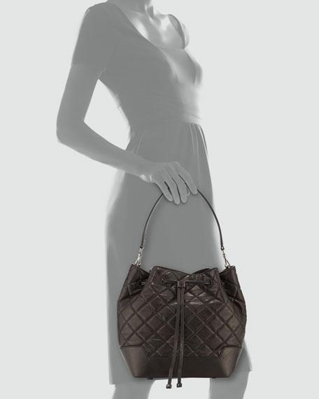 Alice + Olivia Quilted Lambskin Bucket Bag, Black