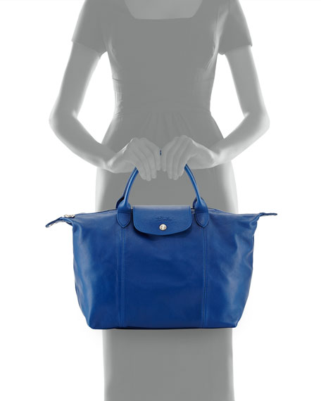 Le Pliage Cuir Leather Handbag, Blue