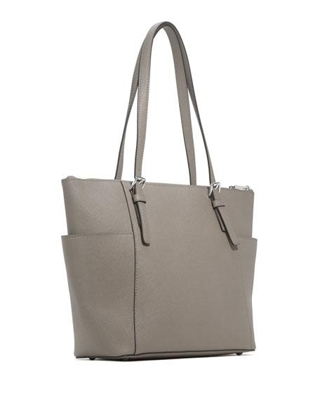 Jet Set Top-Zip Saffiano Tote Bag, Pearl Gray