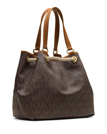Marina Large Gathered Logo Tote Bag, Brown