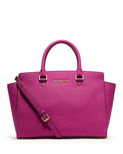 Selma Large Saffiano Satchel Bag, Fuchsia