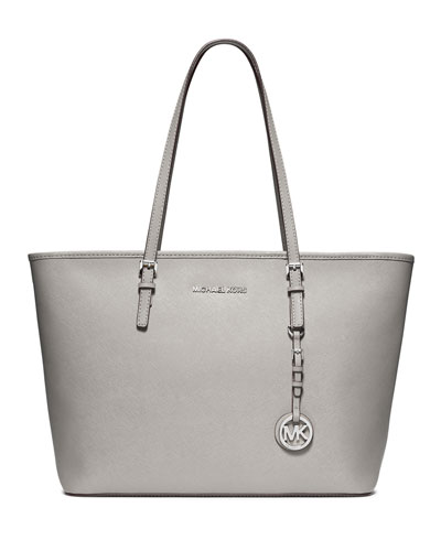 Jet Set Saffiano Travel Tote Bag, Pearl Gray