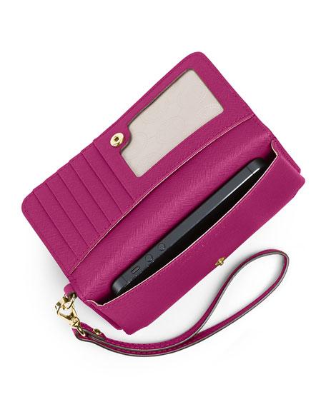 Jet Set Travel Saffiano Slim Tech Wristlet Wallet, Fuchsia