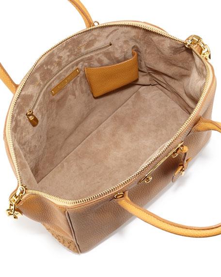 Brera 34 Mixed-Leather Satchel Bag, Arizona