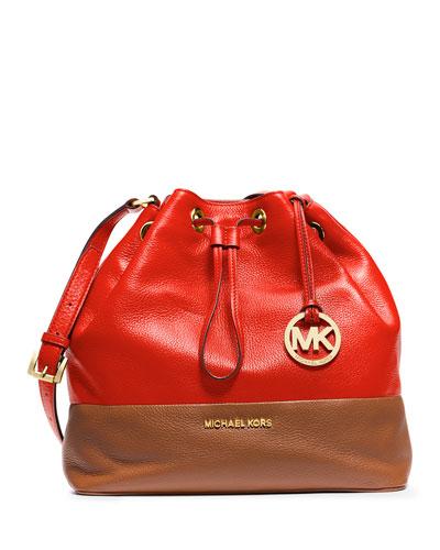 Jules Large Drawstring Shoulder Bag, Mandarin/Luggage