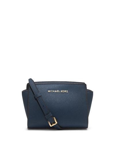 Selma Mini Saffiano Messenger Bag, Navy