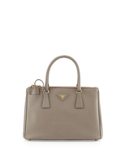 Saffiano Small Double-Handle Tote Bag, Gray (Argilla)
