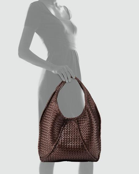 f29d6b65d0cd5 Bottega Veneta Cervo Large Metallic Hobo Bag, Metallic Dark Brown