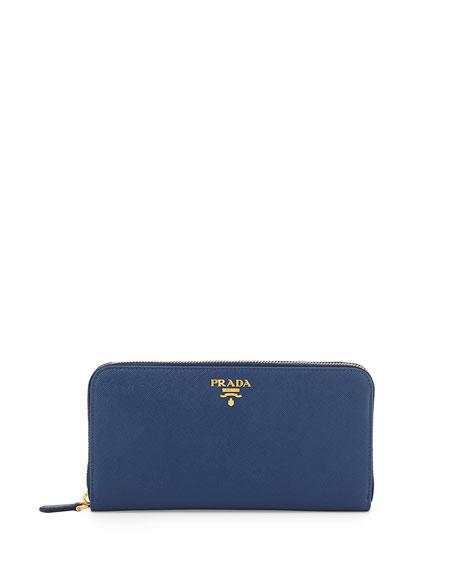 Prada Saffiano Organizer Wallet, Dark Blue (Bluette)