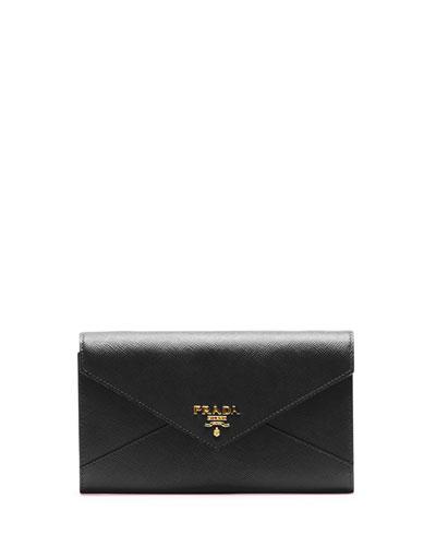 Saffiano Wallet On Strap, Black (Nero)