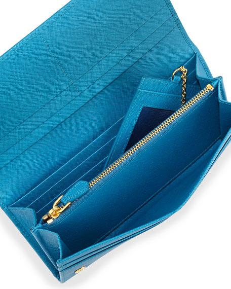 Saffiano Continental Flap Wallet, Turquoise (Celeste)