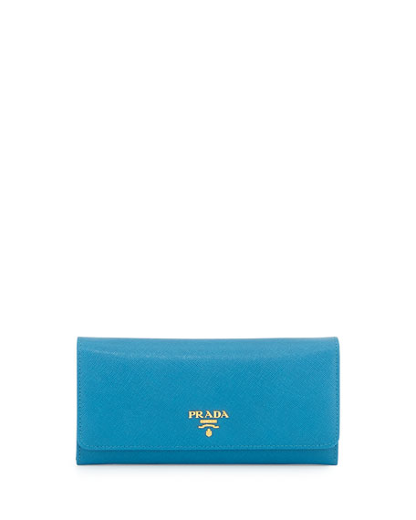 Prada Saffiano Continental Flap Wallet, Turquoise (Celeste)