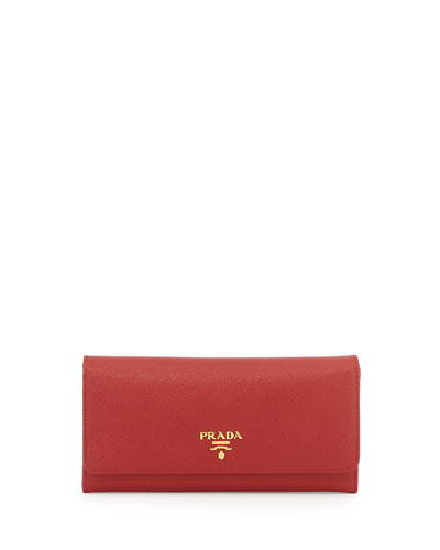 Saffiano Continental Flap Wallet, Red (Fuoco)
