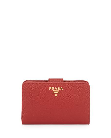 Prada Saffiano Triangle Bi-Fold Tab Wallet, Red (Fuoco)
