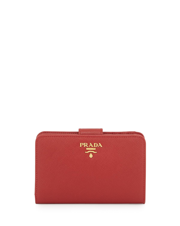 25e1f62f0a42 Prada Saffiano Triangle Bi-Fold Tab Wallet, Red (Fuoco) | Neiman Marcus