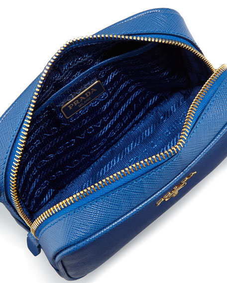prada small cobalt blue saffiano leather crossbody