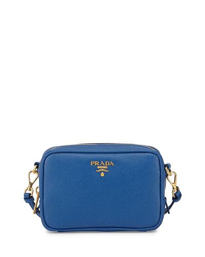 Saffiano Small Crossbody Bag, Cobalt Blue (Azzuro)