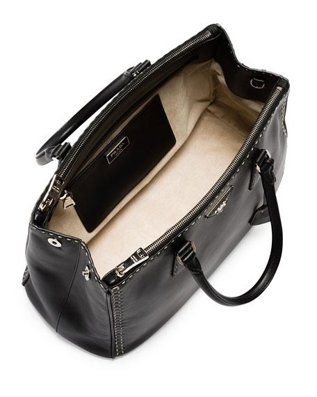 0796ca25dabe ... sale prada city calf double zip executive tote bag black white nero  bianco neiman marcus 4c820