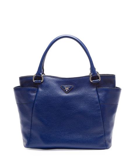 blue prada shoulder bag with side pockets