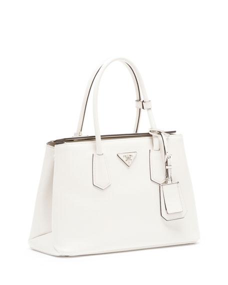 84115c7d06f9 Prada Saffiano Medium Cuir Double Bag, White (Talco)