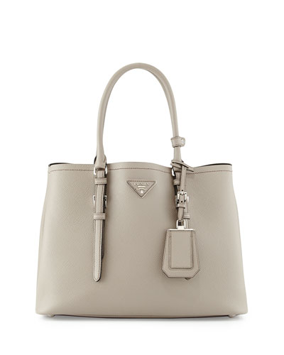 Saffiano Cuir Covered-Strap Double Bag, Light Gray (Argilla)